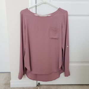 LOFT Dusty Pink Blouse Roll Up Sleeves